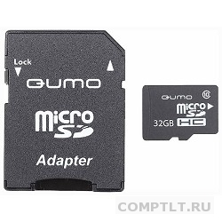 Micro SecureDigital 32Gb QUMO QM32GMICSDHC10U1 MicroSDHC Class 10 UHS-I, SD adapter