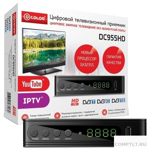 Ресивер DVB-T2 D-Color DC955HD GX3235S, DVB-T2, DVB-С Пластик, RCA, HDMI, USB, WI